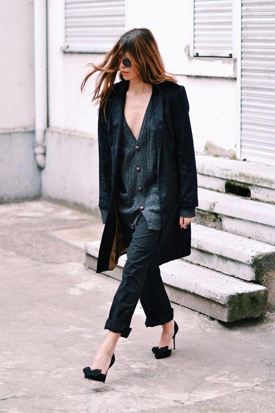 Oversized wool jumper, Marangano black trousers, flats with Pom Pom by Asos, black coat by Patrizia Pepe.