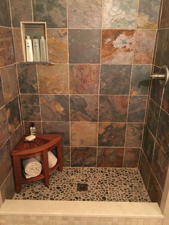 Small showers river rocks and teak on pinterest for Slate bathroom design