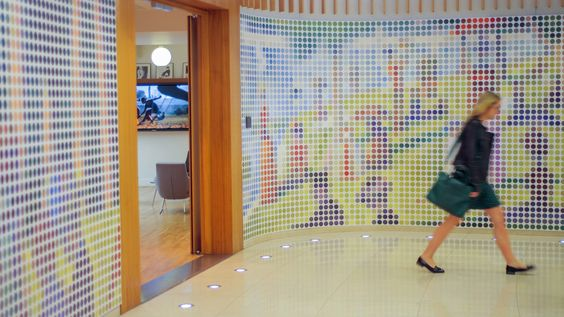 "Pointillism² JWT London is celebrating the arrival of spring by displaying a unique artwork of giant pointillism. Seurat's famous pointillism drawing -""A Sunday Afternoon on the Island of La Grande Jatte"" is welcoming visitors. As they are approaching the reception desk the 22 meters-wide picture turns into an array of large abstract colorful dots.:"