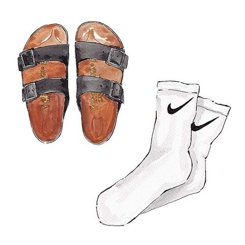 Good objects - Birkenstock Arizona Black + Nike Socks #comfy #saturday #minimalism #fashionillustration #illustration #watercolour #art #goodobjects