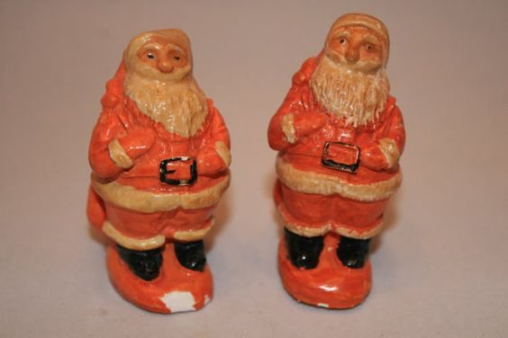 Vintage 1900's Orange and Cream Colored Santa Claus Salt and Pepper Shakers ~ Santa Carrying his Sack ~ Very Old and Rare ~ Christmas Kitchen Decoration ~ Decor ~ by ArtsyVintageBoutique