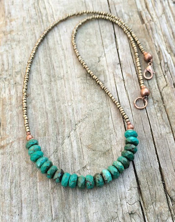 Hey, I found this really awesome Etsy listing at https://www.etsy.com/listing/259657765/turquoise-necklace-turquoise-with-bronze