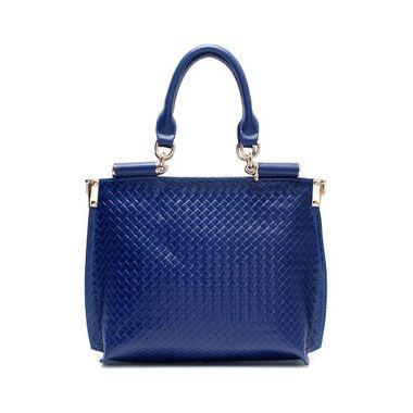 Fashion Large Leather Rhombus Hobo Blue $79