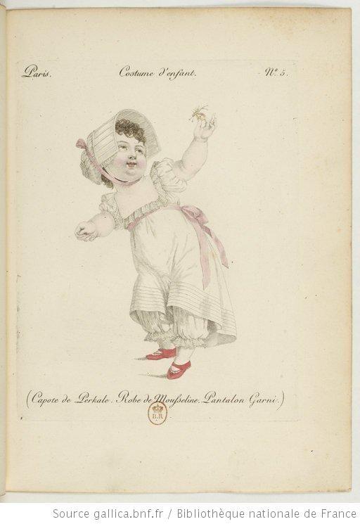 [Recueil. Costumes d'enfants début XIXième] - capote de Percale, robe de mousseline, pantalon garni: