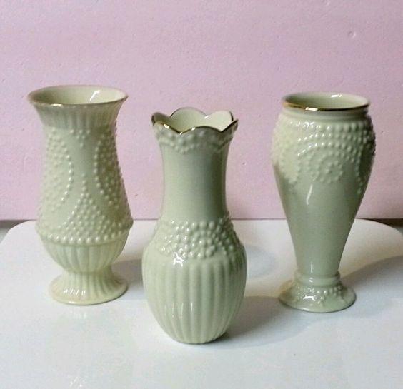 "Lenox Beaded Classic Ivory ~ Set of 3 ~ 5"" Bud Vases ~ 24k Gold Trim"
