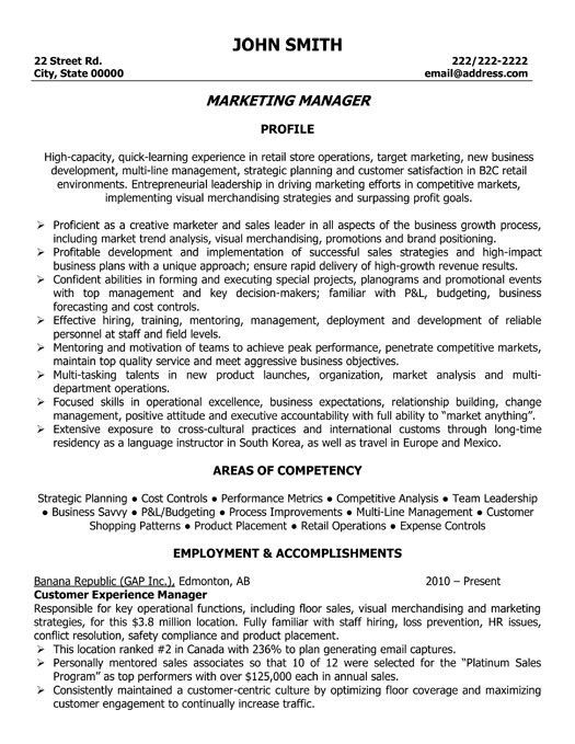 A Professional Resume Template For A Marketing Manager Want It Download It Now Marketing Resume Resume Templates Job Resume Examples