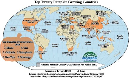 By Neal Lineback and Mandy Lineback Gritzner, Geography in the NewsTM                             PUMPKINS: HALLOWEEN AND THANKSGIVING TRADITIONS Halloween and Thanksgiving are just around the corn...
