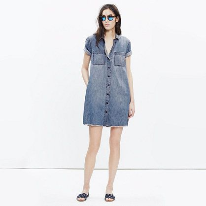 Your favorite soft denim shirt in dress form. An easy short-sleeve style with a cool frayed edge for that hemmed-it-yourself look.  <ul><li>Monogramming now available for US customers: To have this item embroidered with up to nine letters (initials, a pet's nickname, your hometown) for $10, please call 866 544 1937—FYI, we love red or navy thread with denim.</li><li>100% cotton denim.</li><li>Clean indigo wash with subtle hand distressing.</li><li>Tonal stitching.</li><li>Shirtdress silhouet...: