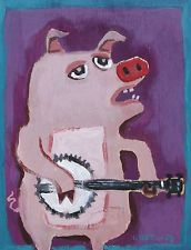 "PIG WITH A BANJO"" Original Folk Art Painting by JACKIE UNDERWOOD"