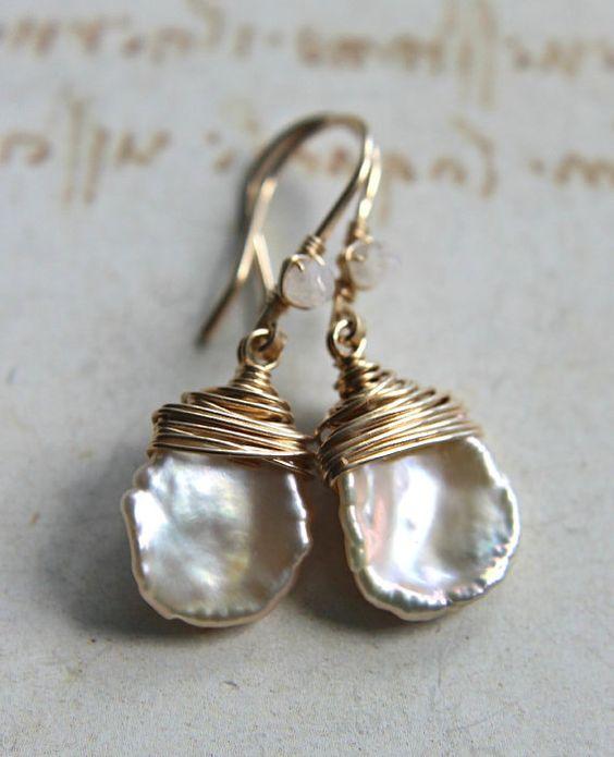 Pendientes de perlas Keishi blanco, gotas de perlas marfil, minimalista, piedra de luna collar pendientes perla Simple