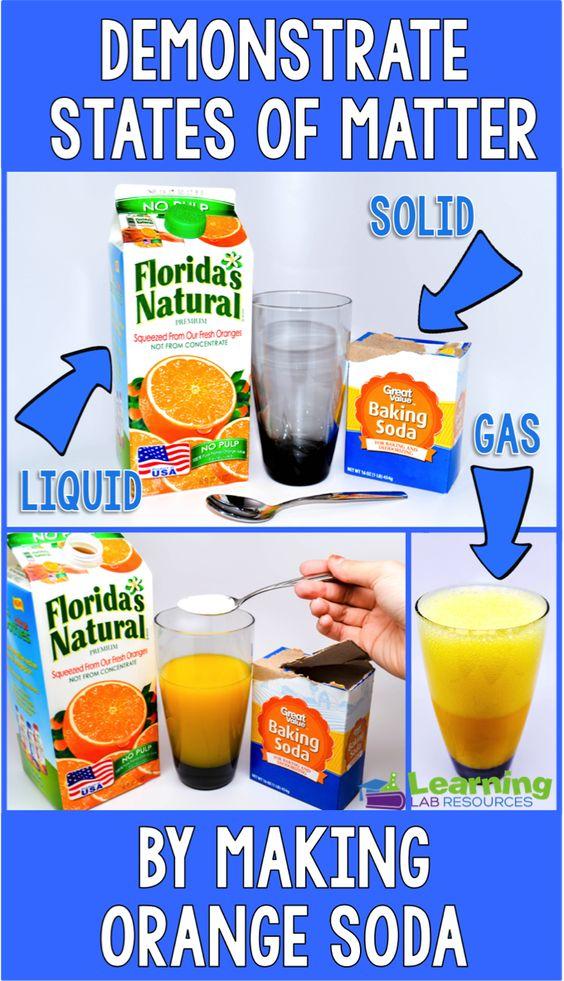 Teach States of Matter Using Orange Juice and Baking Soda - Tastes like Orange Soda!