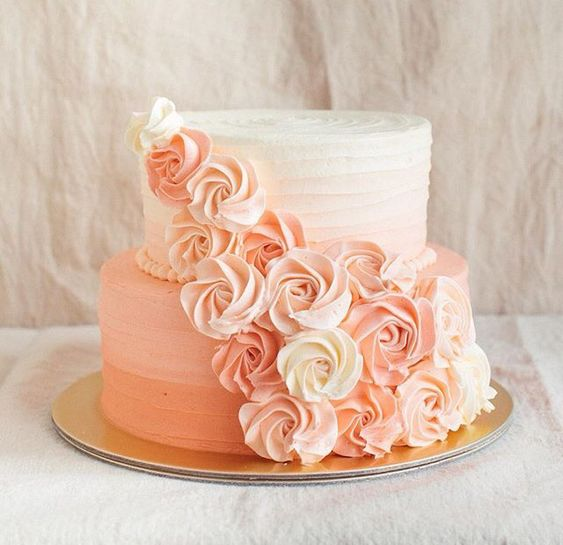 Peach ombre rosette cake (just a pic)