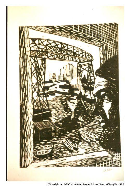 """""""Julio Cortázar"""", xilografía. Por Sergio Ardohain, 1995."""