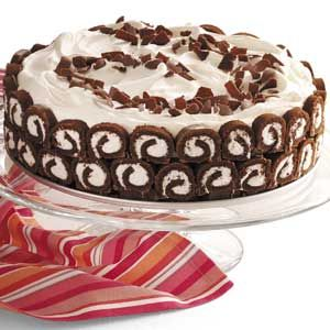 Quick and Easy Chocolate Swirl Delight Recipe - ready in 20 mins.   1 package (13 ounces) Swiss cake rolls, 2-3/4 cups cold milk, 2 packages (3.9 ounces each) instant chocolate fudge pudding mix, 2 cups whipped topping.