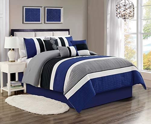 Grandlinen 7 Piece Navy Blue Grey Black White Embroidered Bed In A Bag Luxury Comforter Set King Siz Blue Comforter Sets Comforter Sets Luxury Comforter Sets