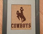 Hand painted burlap print- rustic sports decor, perfect for man caves!