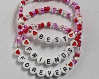 Set van 3 BFF Best Friends Forever gepersonaliseerde Children's armbanden voor Valentijnsdag geschenken en partij gunsten kind kind volwassen maten