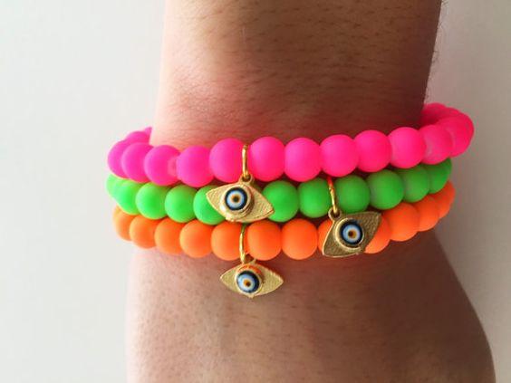 ONE Neon Stretch Bracelet with a Tiny 22K by PaigeBarberDesigns
