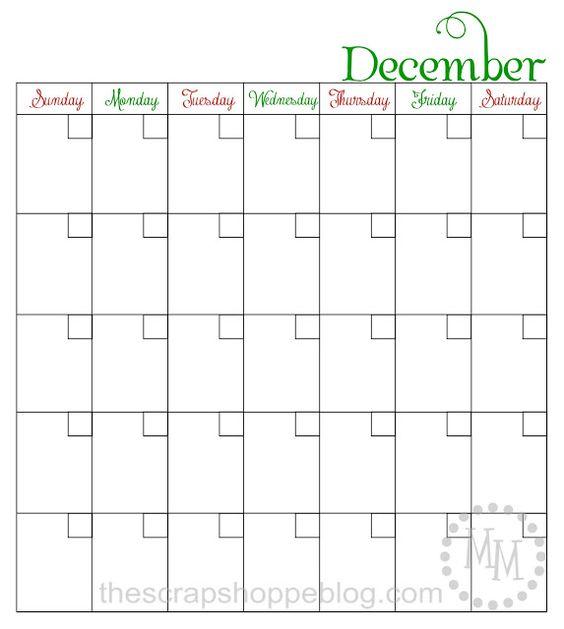 Every Year Calendar : Blank printable december calendar perfect for elf on the
