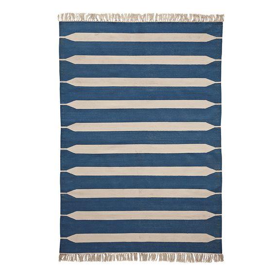Paddle Stripe Cotton Dhurrie – Indigo   Serena & Lily