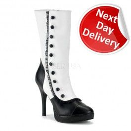Next Day Delivery Calf Boot Splendor 130 in White Matt PVC and Black Trim with Mini Platform and Decorative Buttons £63.00