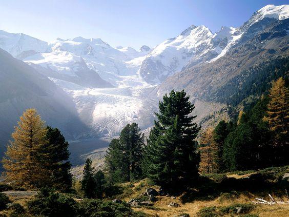 Piz Bernina Moteratsch Glacier Engadine Switzerland photo or wallpaper