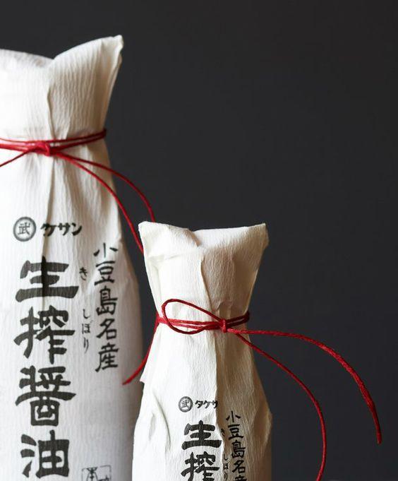 Japanese packaging for soy sauce bottle