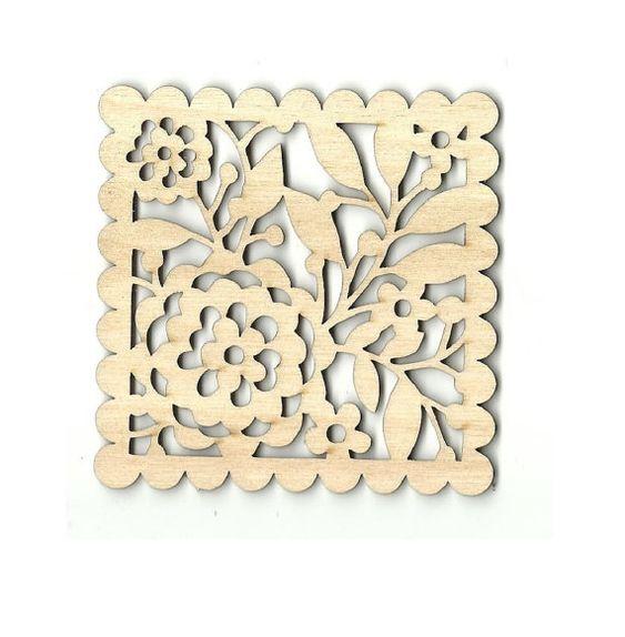 Floral Wood Coaster Plaque Flowers Laser Cut Unfinished Wood Shapes Craft…