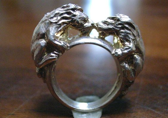 Twin Lion Ring! Our famous lion motif ring sold worldwide! Sterling silver. $100.00 USD. THANX! Rui & Aguri Fine Jewelry.