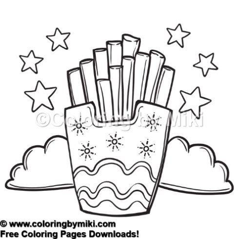Fast Food French Fries Coloring Page 854 塗り絵 食べ物 レストラン