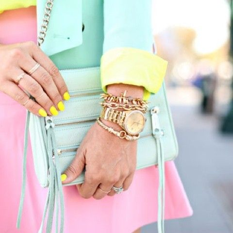 Pastel perfection...watches and stacked bracelets work perfectly among the sugar colours.: Fashion Styles, Pastel Colors, Pastel Fashion, Neon Pastel, Pastels Neon