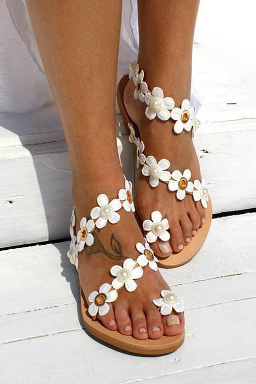 Flower Slip On Flat Sandals Flower Sandals Flower Flat Shoes Womens Sandals Flat