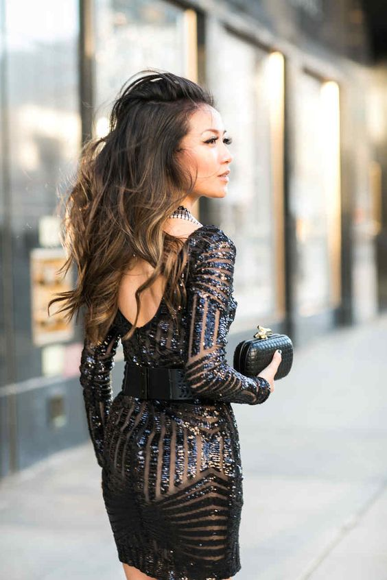 Gorgeous holiday / New Year's Eve black sequin dress