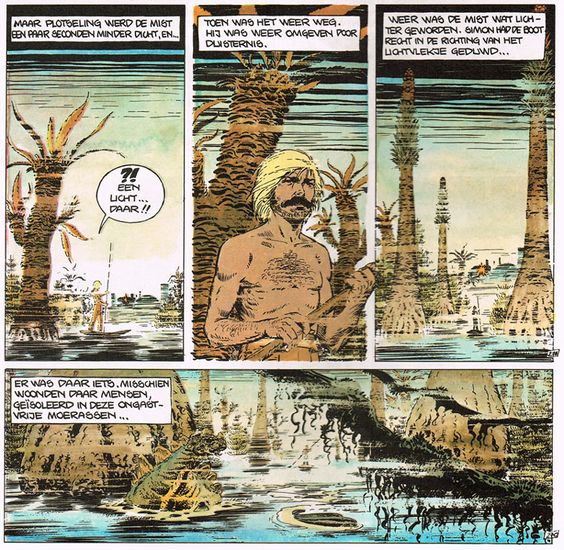 Simon van de Rivier in 'Mailis', probably the best graphic novel in the series. Treading a swamp full of throwback horror and deformity as a raw appetizer for the heartbreaking agony and terrifying atavism that comes later.