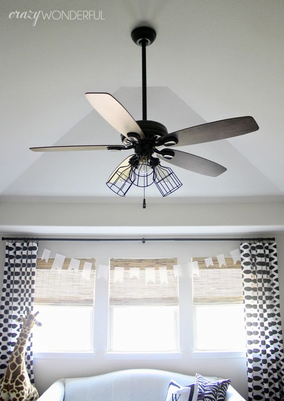 Add Light To Ceiling Fan: caged light ceiling fan (remove glass shades, add cages and switch to  Edison bulbs,Lighting