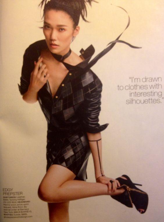 Leather argyle. Perfection. ~Tao Okamoto in Hilfiger, Lucky magazine