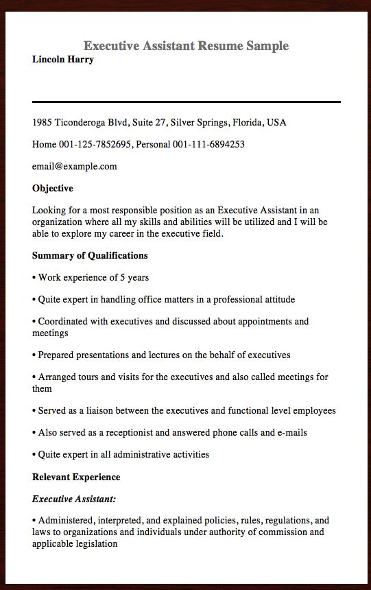Here Is The Executive Assistant Resume Sample, You can Preview It - Example Of A Functional Resume