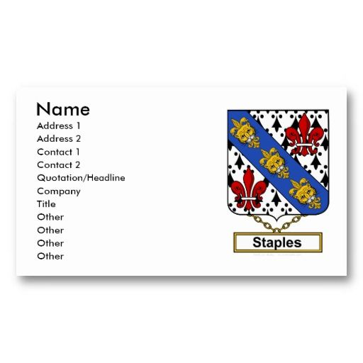 7 best staples business cards templates images on pinterest staples family crest business card accmission Images