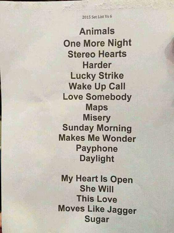 Maroon  World Tour  Setlist