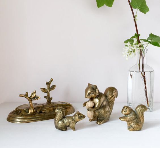 Vintage brass squirrel family