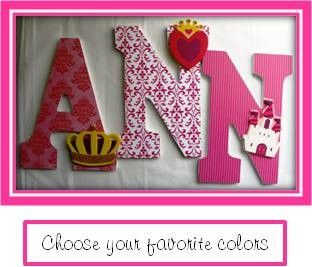 Custom Hand Decorated Wooden Letters PRINCESS THEME  by LetterLuxe, $10.00