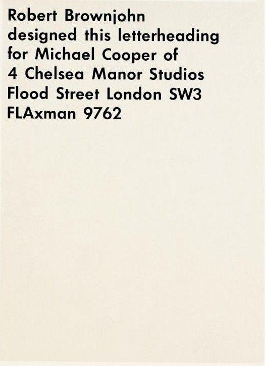 letterheads, stationery, etc. - Robert Brownjohn