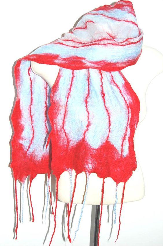 Felted Scarf Silk Scarf Silk Shawl Silk by LocallySewnTextiles