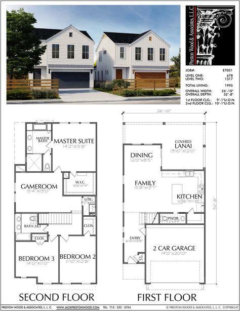 Two Story Townhouse Plan E7051 House Blueprints Duplex House Plans Condo Floor Plans