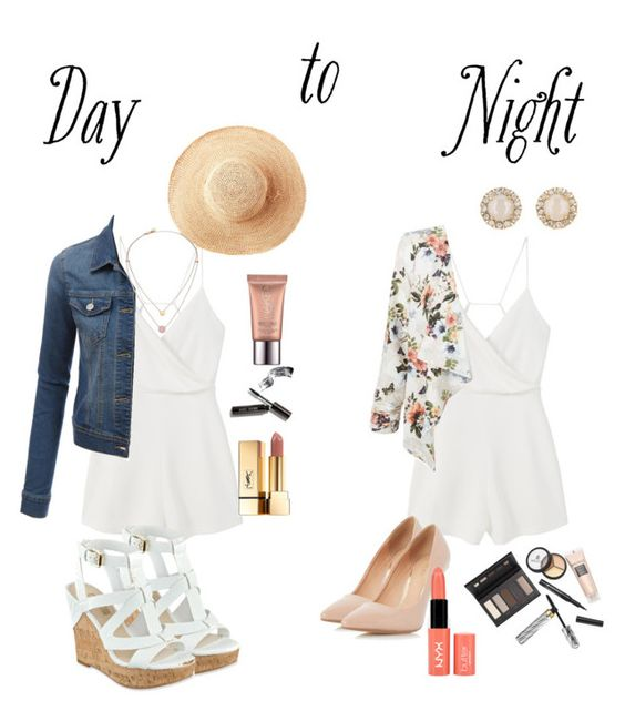 """Day to Night Romper"" by progressiveprep on Polyvore featuring MANGO, Toast, LE3NO, GUESS, Michael Kors, Dorothy Perkins, New Look, Kate Spade, Borghese and NYX"