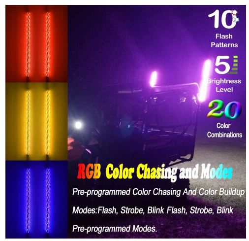 Beltandroad Atv Whip Light 2pc 4ft Spiral Led Whip Lights W Flag 21 Modes 20 Colors In 2020 Rzr Polaris Rzr 4 Wheeler