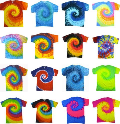 Tie-Dye-T-Shirts-New-Multi-Colors-Spiral-Variation-Size-Youth-XS-to-Adult-3XL