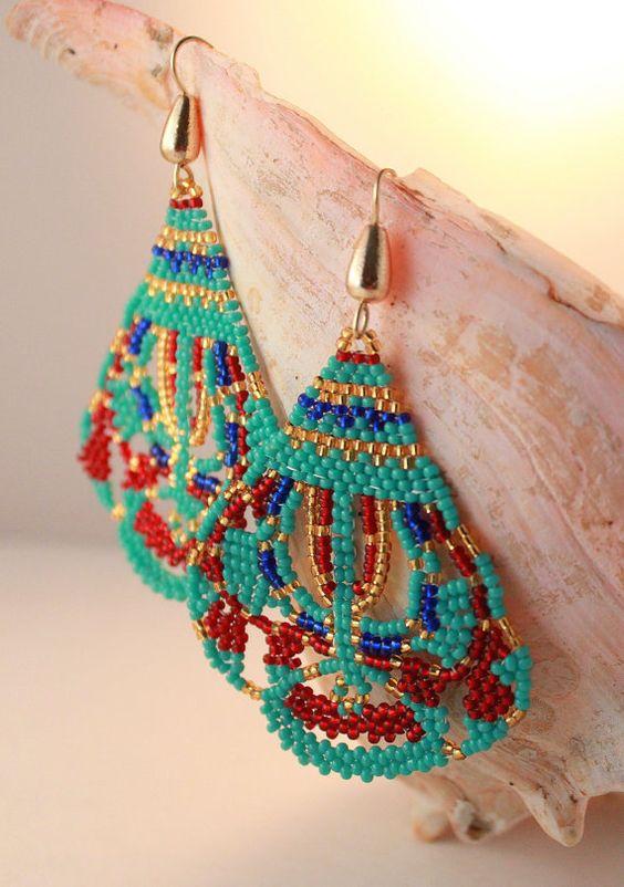 Bollywood Inspired Earrings,Oriental Seed Beaded Jewelry ...