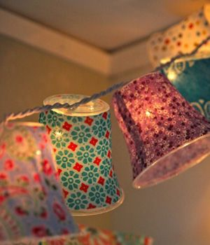 You can even do this with dixie cups and paper gift wrap (the kind you fill gift bags with). Poke the light through the bottom and TA DA!! So cute and easy.