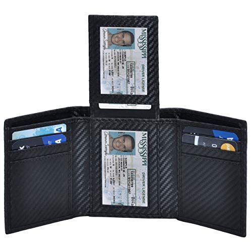 Fashion Mens Genuine Leather Slim Bifold Wallet RFID Blocking Credit Card Holder